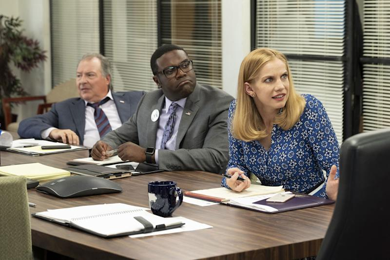 Ken Dunn, Sam Richardson, and Anna Chlumsky in Veep.