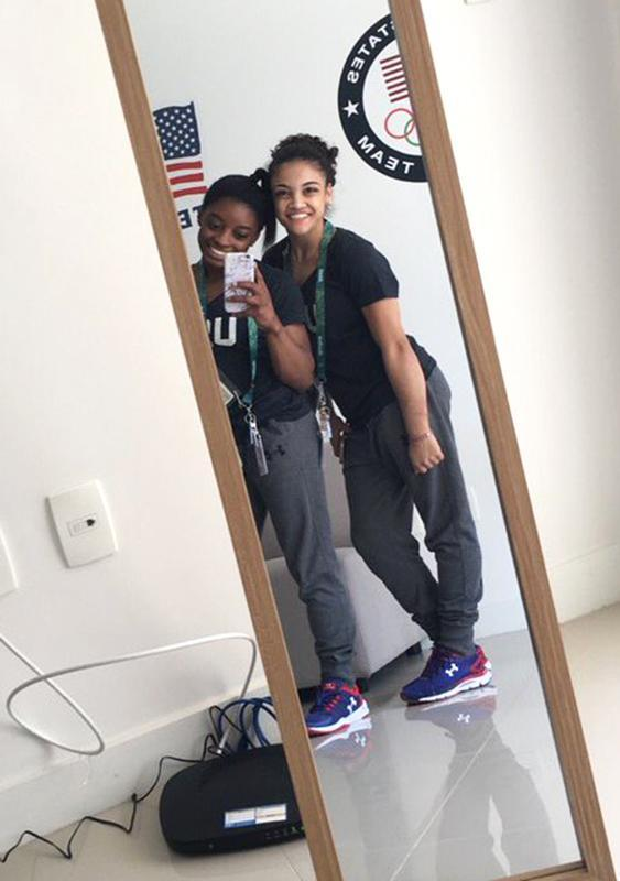 <p>Simone Biles and Laurie Hernandez share this selfie from their Olympic Village apartment. (@Simone_Biles/Twitter) </p>