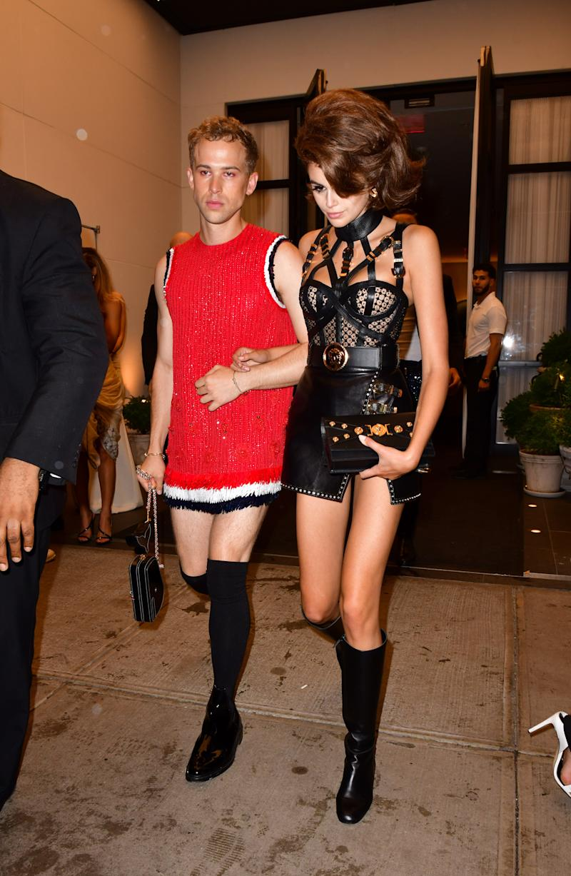 Kaia Gerber, right, leaves her birthday party with actor Tommy Dorfman.