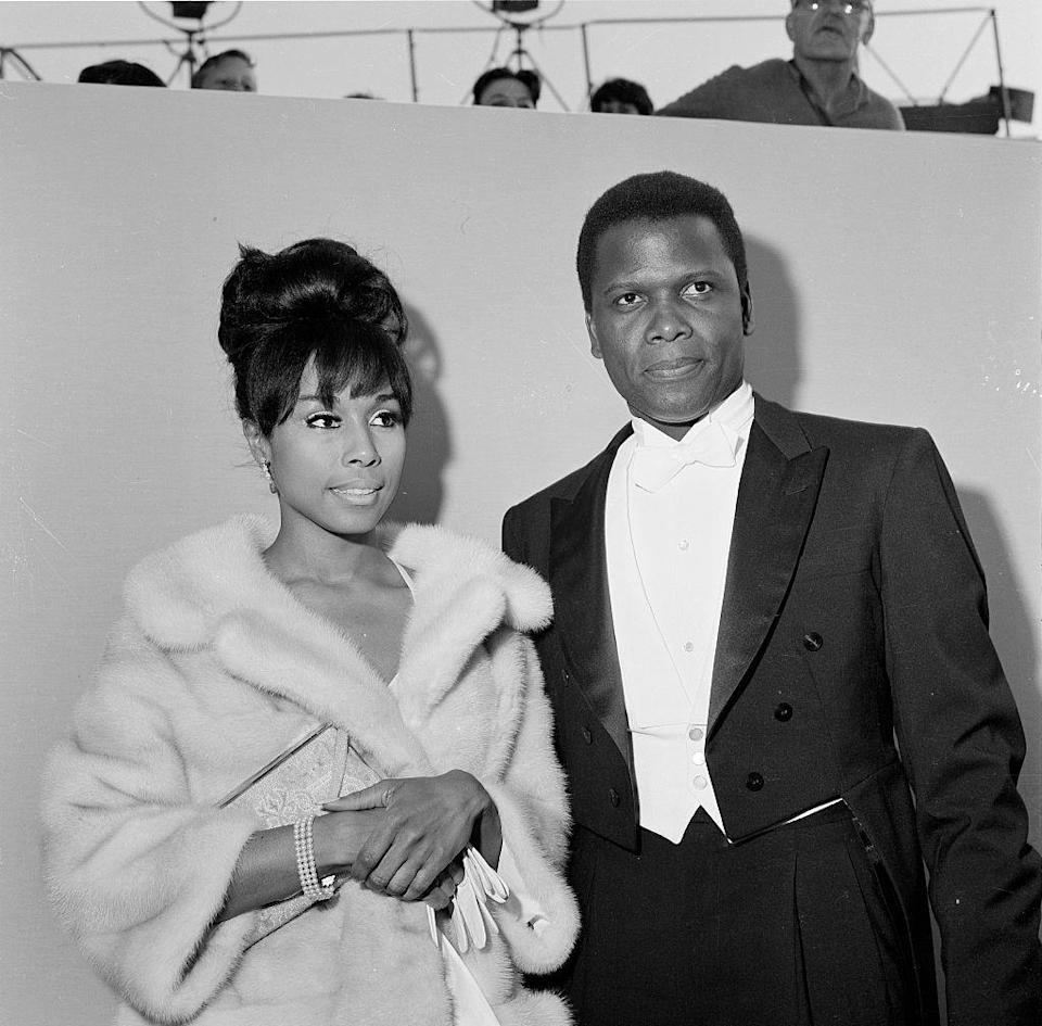 <p>Actor Sidney Poitier and actress Diahann Carroll arrive at the 36th Academy Awards in Santa Monica, California, on April 13, 1964.</p>
