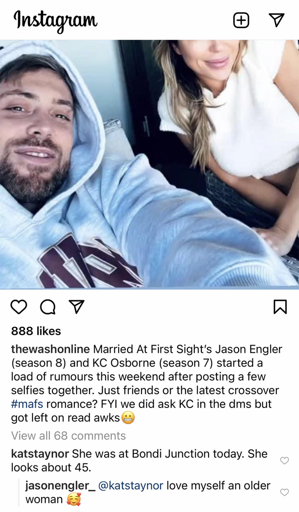 A screenshot of A selfie of Married At First Sight stars Jason Engler and KC Osborne with a comment by Jason Engler below