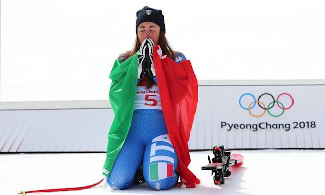 "<span class=""element-image__caption"">Italy's Sofia Goggia pips Lindsey Vonn to seal gold in the women's downhill.</span> <span class=""element-image__credit"">Photograph: Tom Pennington/Getty Images</span>"