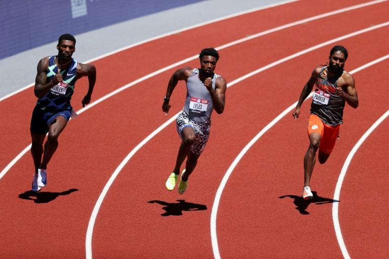 World champion Noah Lyles (centre) advanced to the 200m semi-finals at the US Olympic trials