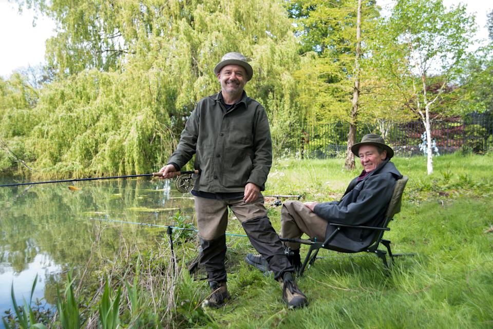 WARNING: Embargoed for publication until 00:00:01 on 31/08/2021 - Programme Name: Mortimer & Whitehouse: Gone Fishing S4 - TX: n/a - Episode: Mortimer & Whitehouse: Gone Fishing S4 - ep 2 - Burghley House Stamford (No. 2) - Picture Shows: Burghley House, Stamford Bob Mortimer, Paul Whitehouse - (C) Owl Power - Photographer: Marianne Wie