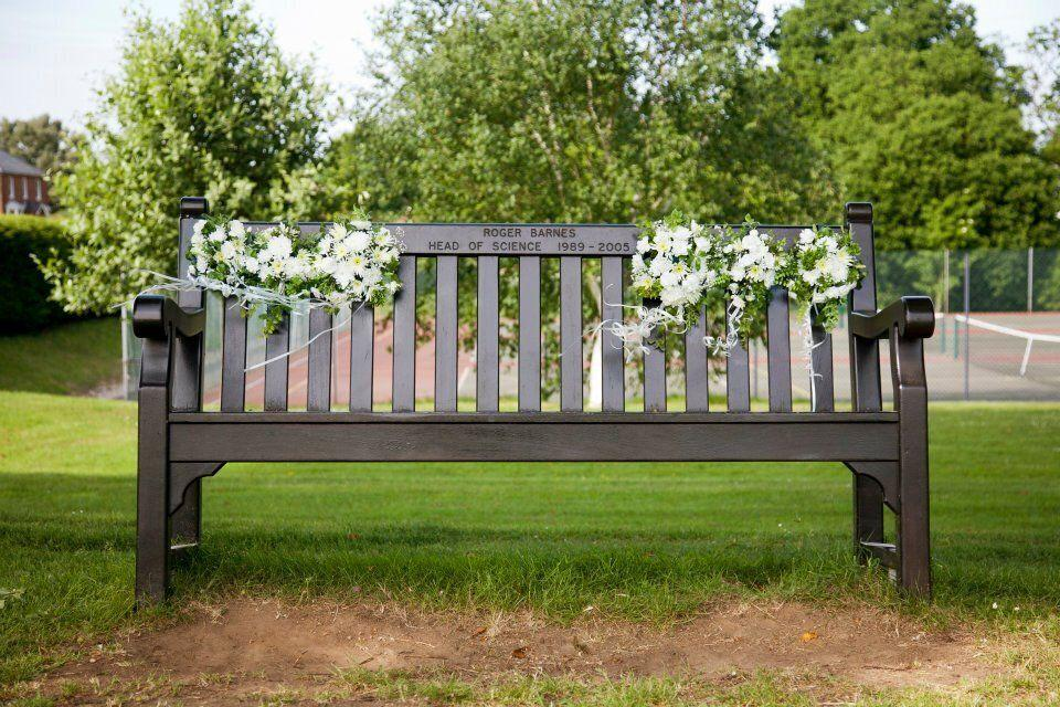 My dad's memorial bench at the school where he was Head of Science (Photo: HuffPost UK)