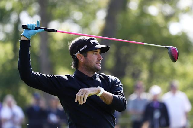 Bubba Watson of the United States uses his driver for his second shot on the 13th hole during the first round of the 2019 PGA Championship at the Bethpage Black course on May 16, 2019 in Farmingdale, New York. (Photo by Jamie Squire/Getty Images)