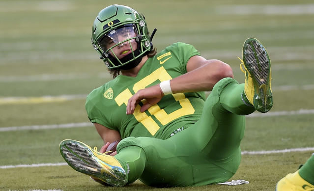 Will Oregon QB Justin Herbert be knocked by portions of the NFL for his academic interests? (Getty Images)