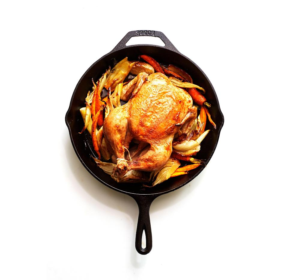 "The only nonnegotiables for roast chicken recipes are a) being generous with the kosher salt inside and out and b) letting the chicken sit out for at least an hour, which gives the seasoning time to work its way deep into the meat, meaning every bite is delicious through and through. <a href=""https://www.epicurious.com/recipes/food/views/cast-iron-roast-chicken-with-fennel-and-carrots?mbid=synd_yahoo_rss"" rel=""nofollow noopener"" target=""_blank"" data-ylk=""slk:See recipe."" class=""link rapid-noclick-resp"">See recipe.</a>"