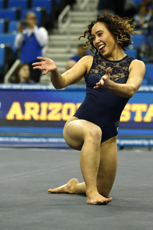 UCLA's Katelyn Ohashi warms up for floor exercise ahead of a PAC-12 meet against Arizona State at Pauley Pavilion on January 21, 2019 in Los Angeles, California. (Photo by Katharine Lotze/Getty Images)