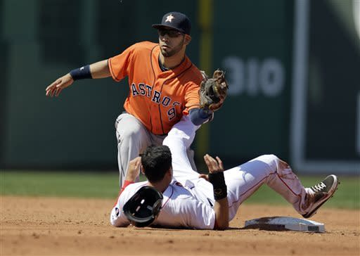 Houston Astros shortstop Marwin Gonzalez (9) makes the tag as Boston Red Sox's Jacoby Ellsbury (2) is caught stealing second base during the second inning of a baseball game at Fenway Park in Boston, Sunday, April 28, 2013. (AP Photo/Mary Schwalm)