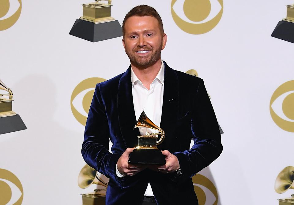 Shane McAnally poses with his Grammy for Best Country Song at the 61st Annual Grammy Awards. (Photo: Steve Granitz/WireImage)