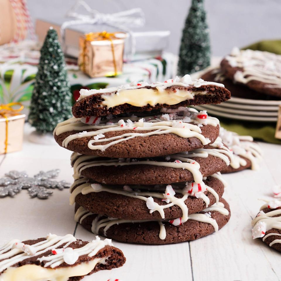 "<p>This recipe uses a lot of ingredients, so if you start baking the triple chocolate peppermint molten cookies and realize you're missing an ingredient, refer to our <a href=""https://www.thedailymeal.com/ingredients-you-can-substitute-when-baking-or-cooking?referrer=yahoo&category=beauty_food&include_utm=1&utm_medium=referral&utm_source=yahoo&utm_campaign=feed"" rel=""nofollow noopener"" target=""_blank"" data-ylk=""slk:baking swaps and substitutions list"" class=""link rapid-noclick-resp"">baking swaps and substitutions list</a>.</p> <p><a href=""https://www.thedailymeal.com/recipe/triple-chocolate-peppermint-molten-cookies?referrer=yahoo&category=beauty_food&include_utm=1&utm_medium=referral&utm_source=yahoo&utm_campaign=feed"" rel=""nofollow noopener"" target=""_blank"" data-ylk=""slk:For the Triple Chocolate Peppermint Molten Cookies recipe, click here."" class=""link rapid-noclick-resp"">For the Triple Chocolate Peppermint Molten Cookies recipe, click here.</a></p>"