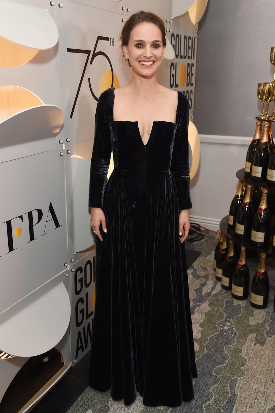 <p>The actress made her Time's Up statement in a black velvet dress</p>