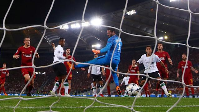 <p>Soccer Football – Champions League Semi Final Second Leg – AS Roma v Liverpool – Stadio Olimpico, Rome, Italy – May 2, 2018 Liverpool's Georginio Wijnaldum scores their second goal REUTERS/Tony Gentile </p>