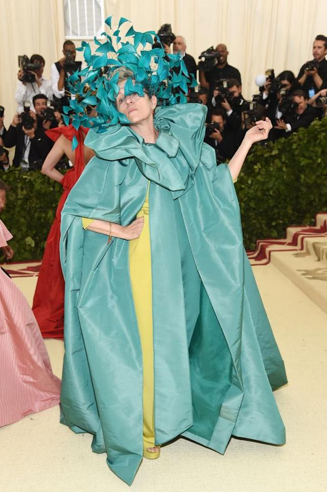 <p>McDormand made quite the entrance in a Valentino cape and gown. (Photo: Getty Images) </p>