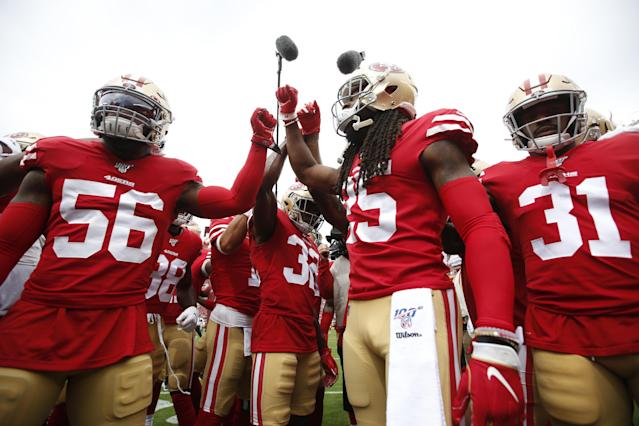 These guys have been going in lately. (Photo by Michael Zagaris/San Francisco 49ers/Getty Images)