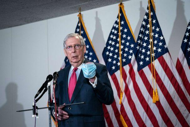 PHOTO: Senate Majority Leader Mitch McConnell speaks to the press after a meeting with Republican Senators in the Hart Senate Office Building on Capitol Hill, May 19, 2020 in Washington, DC. (Drew Angerer/Getty Images, FILE)
