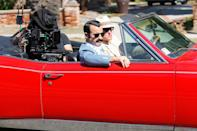 <p>Justin Theroux and Woody Harrelson film scenes for <em>The White House Plumbers</em> in a red convertible on Oct. 13 in L.A.</p>