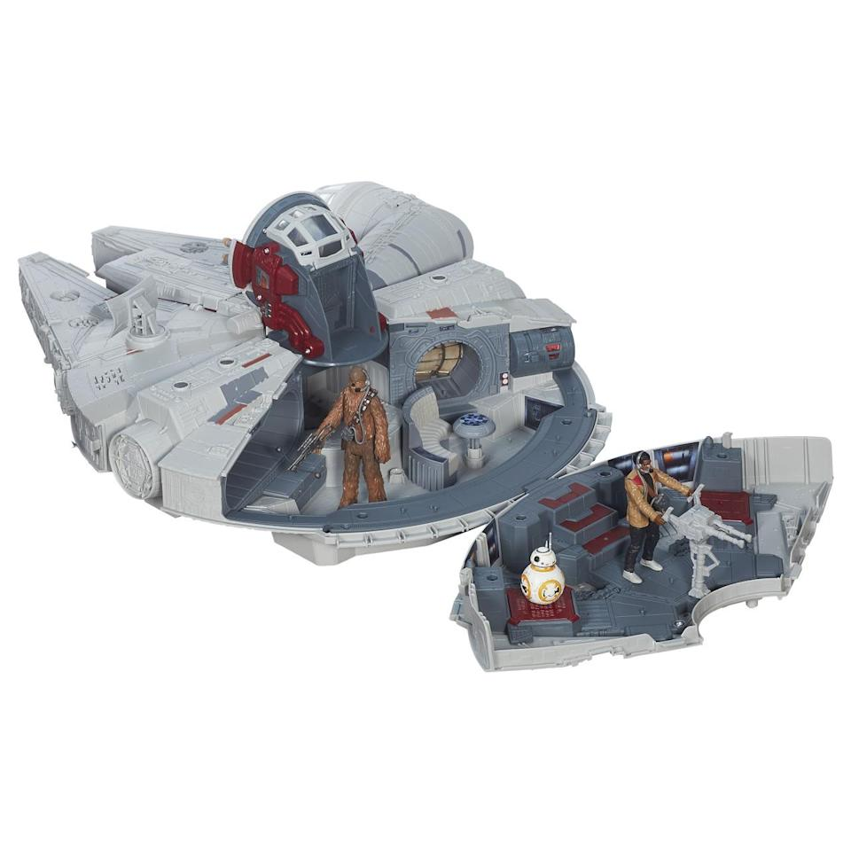 """<p><a href=""""https://www.yahoo.com/movies/5-reasons-why-the-new-millennium-falcon-toy-is-way-128269051947.html"""" data-ylk=""""slk:Hasbro's version of Han Solo's beloved ship;outcm:mb_qualified_link;_E:mb_qualified_link;ct:story;"""" class=""""link rapid-noclick-resp yahoo-link"""">Hasbro's version of Han Solo's beloved ship</a> comes with special-edition Chewbacca, Finn, and BB-8 figures, as well as all kinds of upgrades, including a Nerf dart canon, a finicky hyperdrive, and a new rectangular sensor dish. </p>"""