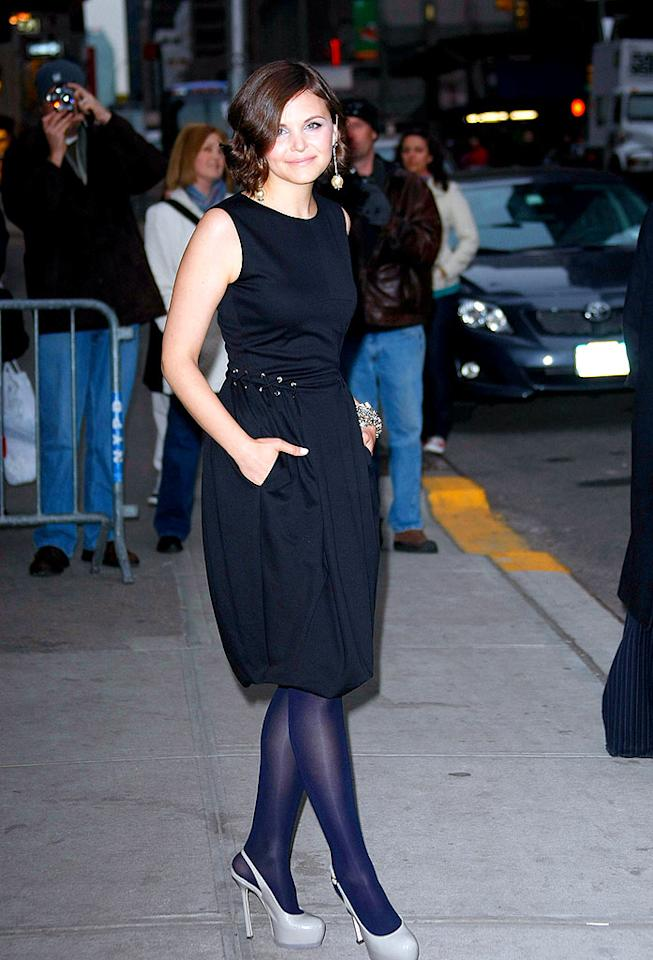 """Big Love"" looker Ginnifer Goodwin popped a pose outside of NYC's Ed Sullivan theater in dove gray Yves St. Laurent ""Trib Two"" slingbacks, a YSL LBD, and ravishing Roxanne Assounlin for Brian Reyes jewels. Ray Tamarra/<a href=""http://www.gettyimages.com/"" target=""new"">GettyImages.com</a> - March 16, 2009"