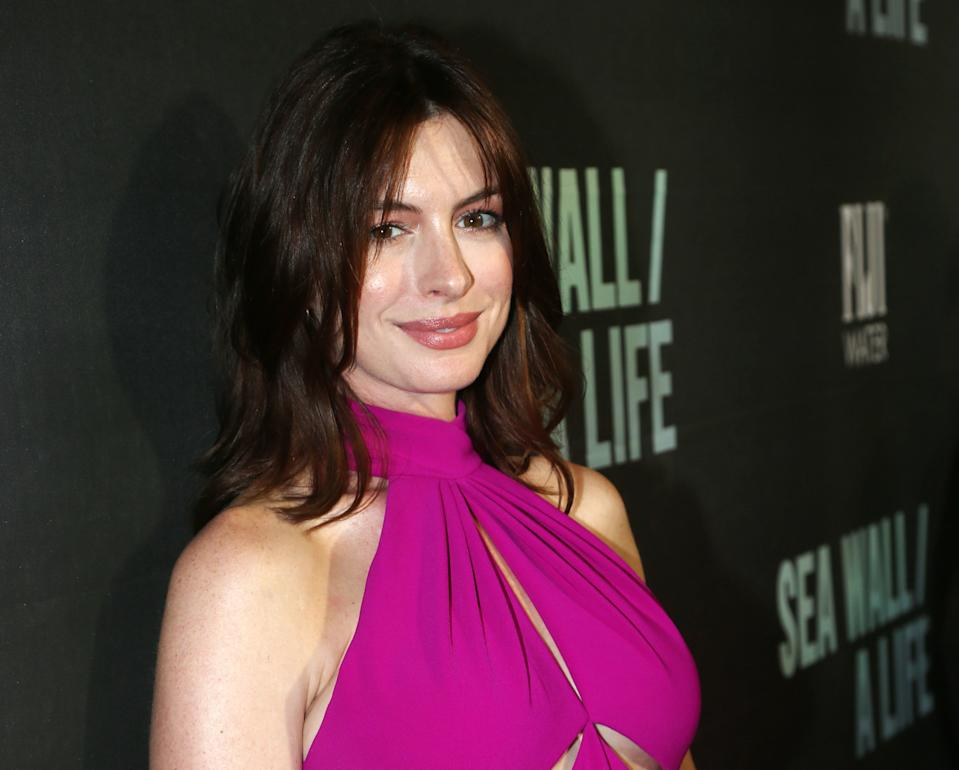 """NEW YORK, NY - AUGUST 08: Anne Hathaway poses at the opening night of """"Sea Wall/A Life"""" on Broadway at The Hudson Theatre on August 8, 2019 in New York City. (Photo by Bruce Glikas/FilmMagic)"""