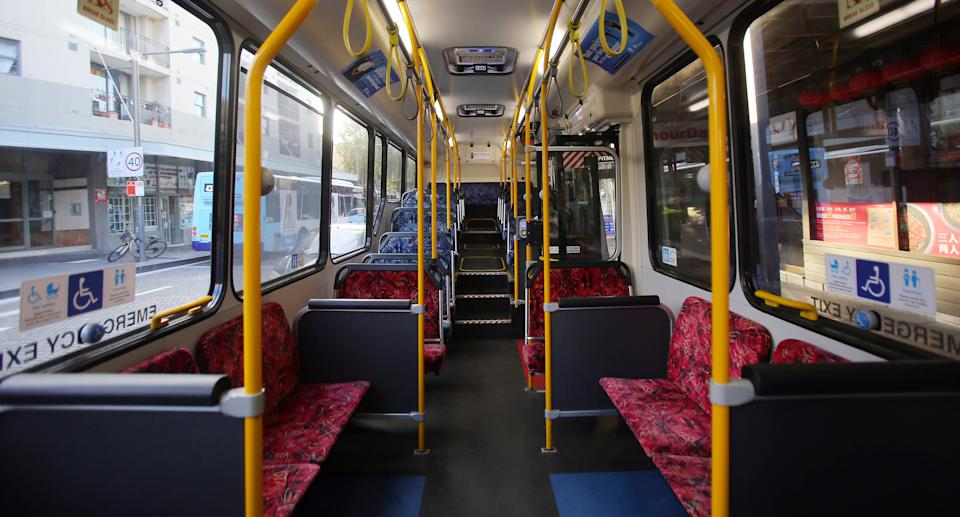 Stock image of an empty public bus in Sydney. Source: AAP