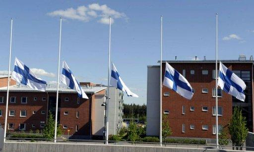 Finish flags fly at half mast in front of the southern Finland city of Hyvinkaa after a shooting earlier today targeting restaurants packed with teenagers. Police arrested an 18-year-old man suspected of killing two people and wounding seven others in the shooting. The gunman had opened fire around 1:53 am (2253 GMT) from a rooftop in the centre of Hyvinkaa