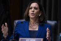 In this June 16, 2020, photo, Sen. Kamala Harris, D-Calif., asks a question during a Senate Judiciary Committee hearing on police use of force and community relations on on Capitol Hill in Washington. Democratic presidential candidate former Vice President Joe Biden has chosen Harris as his running mate. (Tom Williams/CQ Roll Call/Pool via AP)