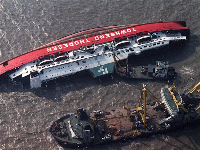 The Herald of Free Enterprise the day after the disaster, in which 193 people lost their lives, in March 1987: Getty