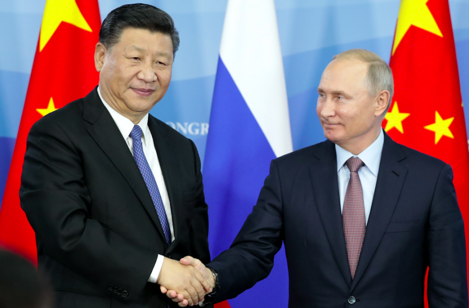 <em>Chinese President Xi Jinping visited Vladimir Putin in Russia as the manoeuvres kicked off (Getty)</em>