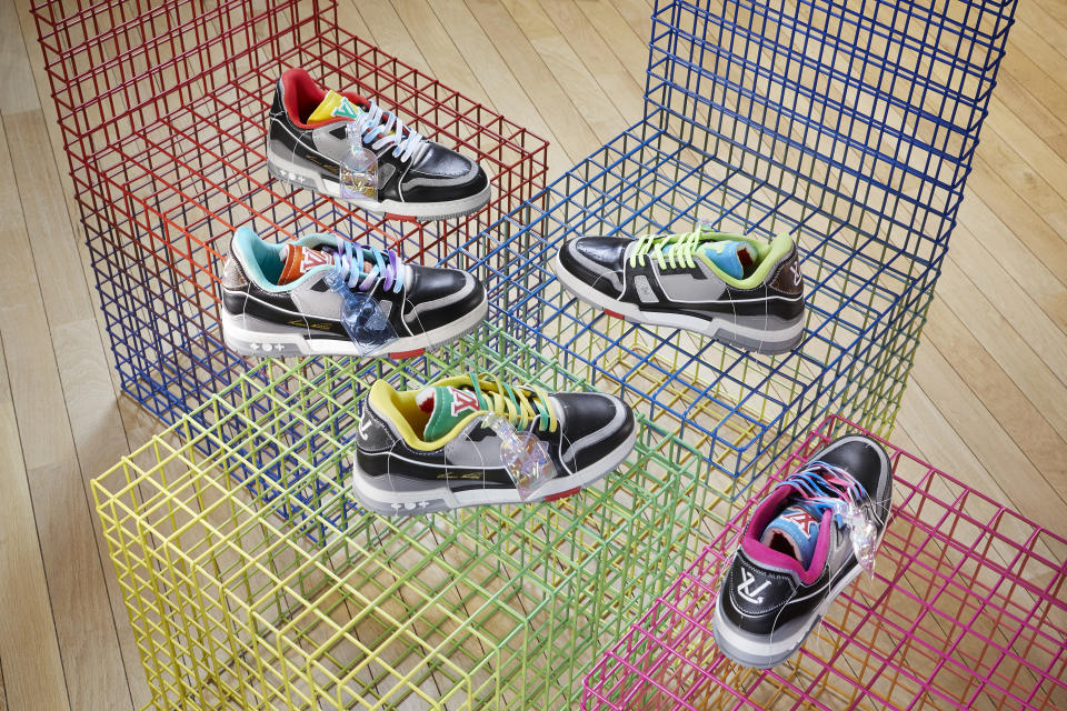 The LV Trainer Upcycling sneakers designed by Virgil Abloh. - Credit: Grégoire Vieille/Courtesy of Louis Vuitton