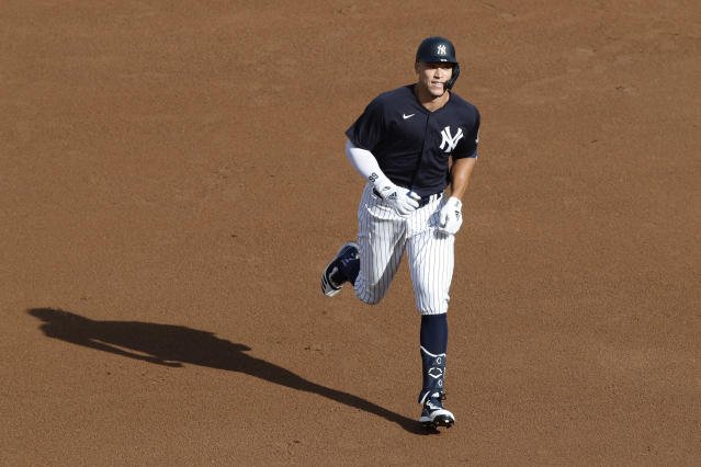 New York Yankees' Aaron Judge round the bases after hitting a solo home run off James Paxton during an intrasquad baseball game Wednesday, July 15, 2020, at Yankee Stadium in New York. (AP Photo/Kathy Willens)