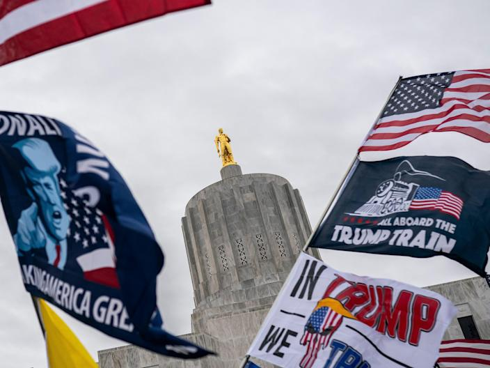 <p>Protesters wave flags during a Defeat the Steal rally on November 14, 2020 in Salem, Oregon</p> (Getty Images)