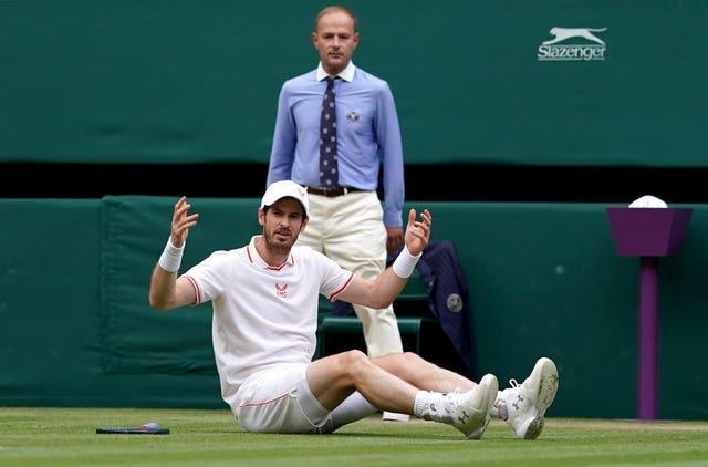 Andy Murray slipped twice during the first two games