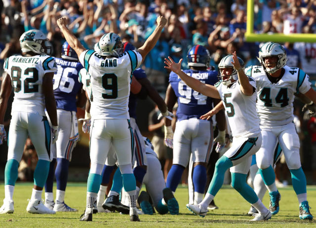 FILE - In this Oct. 7, 2018, file photo, Carolina Panthers' Graham Gano (9) celebrates his game-winning field goal against the New York Giants in the second half of an NFL football game, in Charlotte, N.C. Gano's 63-yard game-winning field goal on Sunday against the Giants -- the first in the NFL since Tom Dempsey -- held a little extra meaning for the veteran kicker. (AP Photo/Jason E. Miczek, File)