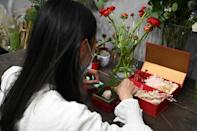 Hong Kong florist Elise Ip makes gifts as a free service for prisoners held over last year's pro-democracy protests to send to their friends and relatives