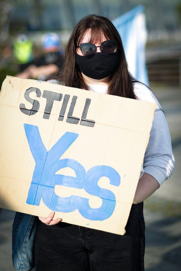 A member of the public during an IndyRef2 rally outside the headquarters of BBC Scotland last year (Photo: NurPhoto via Getty Images)