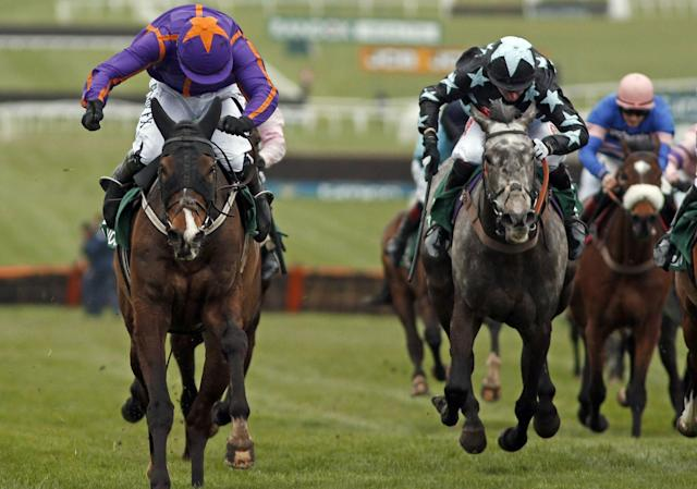 <span>Arctic Fire wins the County Hurdle</span> <span>Credit: racingfotos.c/REX/Shutterstock </span>