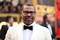 <p>Jorden Peele wears black rectangular frames with his white tux at the 2018 Oscars red carpet. (Photo: Getty Images) </p>