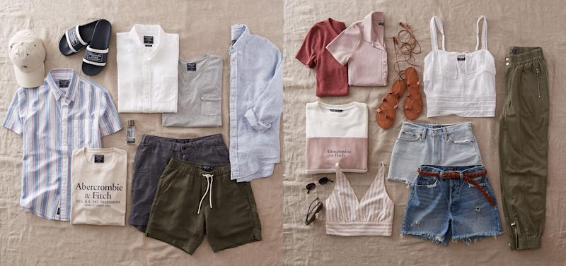 An assortment of products from Abercrombie & Fitch.