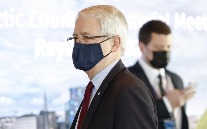 Canadian Minister of Foreign Affairs Marc Garneau arrives for the Arctic Council Ministerial Meeting in Reykjavik, Iceland, Thursday, May 20, 2021. (AP Photo/Brynjar Gunnarsson, Pool)