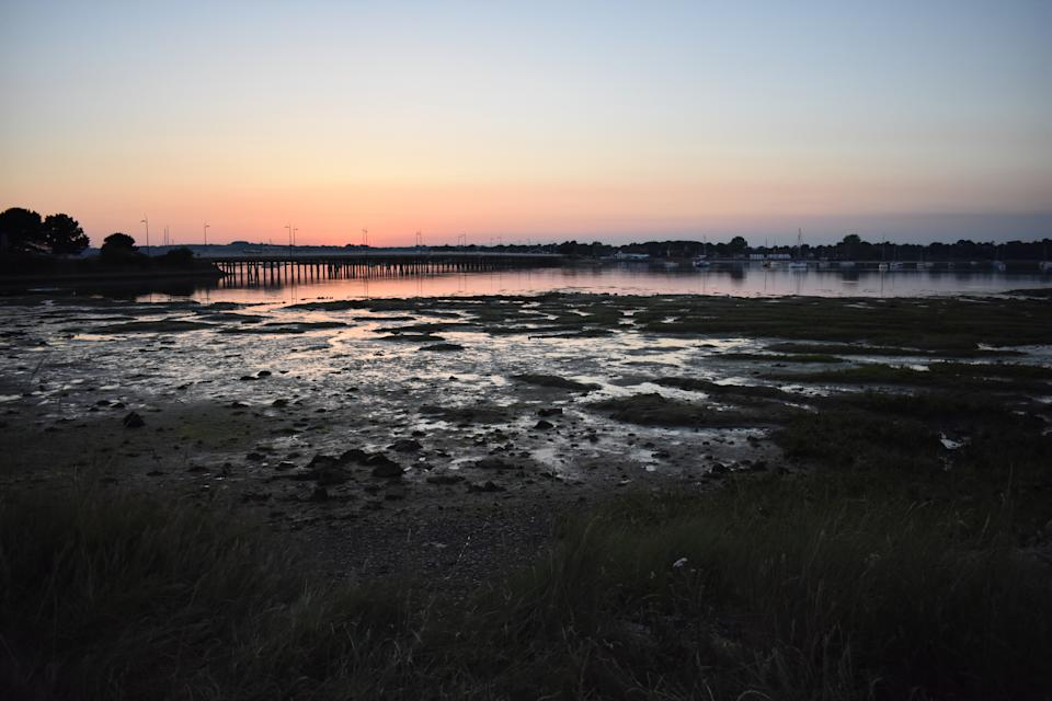 The causeway is the only road link between Hayling and the mainland. Photo taken from Hayling Island side