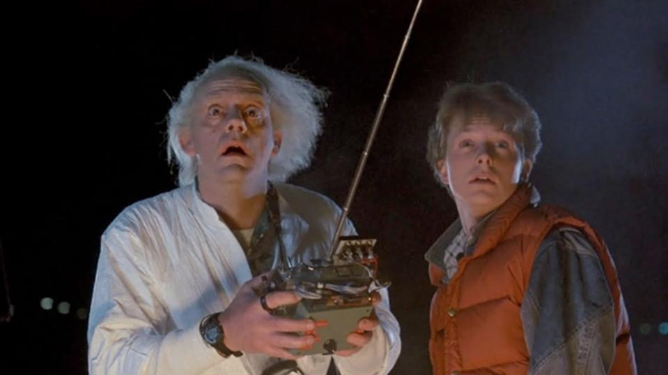 Christopher Lloyd and Michael J Fox in Back To The Future (Credit: Universal)