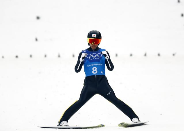 Nordic Combined Events - Pyeongchang 2018 Winter Olympics - Men's Team Gundersen LH Competition - Alpensia Ski Jumping Centre - Pyeongchang, South Korea - February 22, 2018 - Akito Watabe of Japan reacts. REUTERS/Kai Pfaffenbach