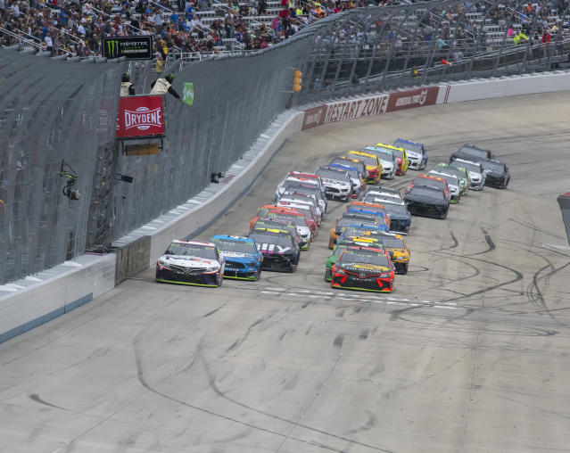 Drivers start Stage 2 at the Drydene 400 - Monster Energy NASCAR Cup Series playoff auto race, Sunday, Oct. 6, 2019, at Dover International Speedway in Dover, Del. (AP Photo/Jason Minto)