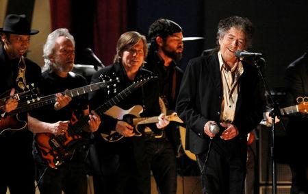 "Bob Dylan performs ""Maggie's Farm"" at the 53rd annual Grammy Awards in Los Angeles, California February 13, 2011. REUTERS/Lucy Nicholson/File Photo"