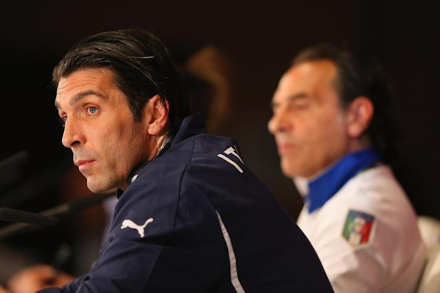 KIEV, UKRAINE - JUNE 30: In this handout image provided by UEFA, Gianluigi Buffon of Italy talks to the media during a UEFA EURO 2012 press conference at the Olympic Stadium on June 30, 2012 in Kiev, Ukraine. (Photo by Handout/UEFA via Getty Images)