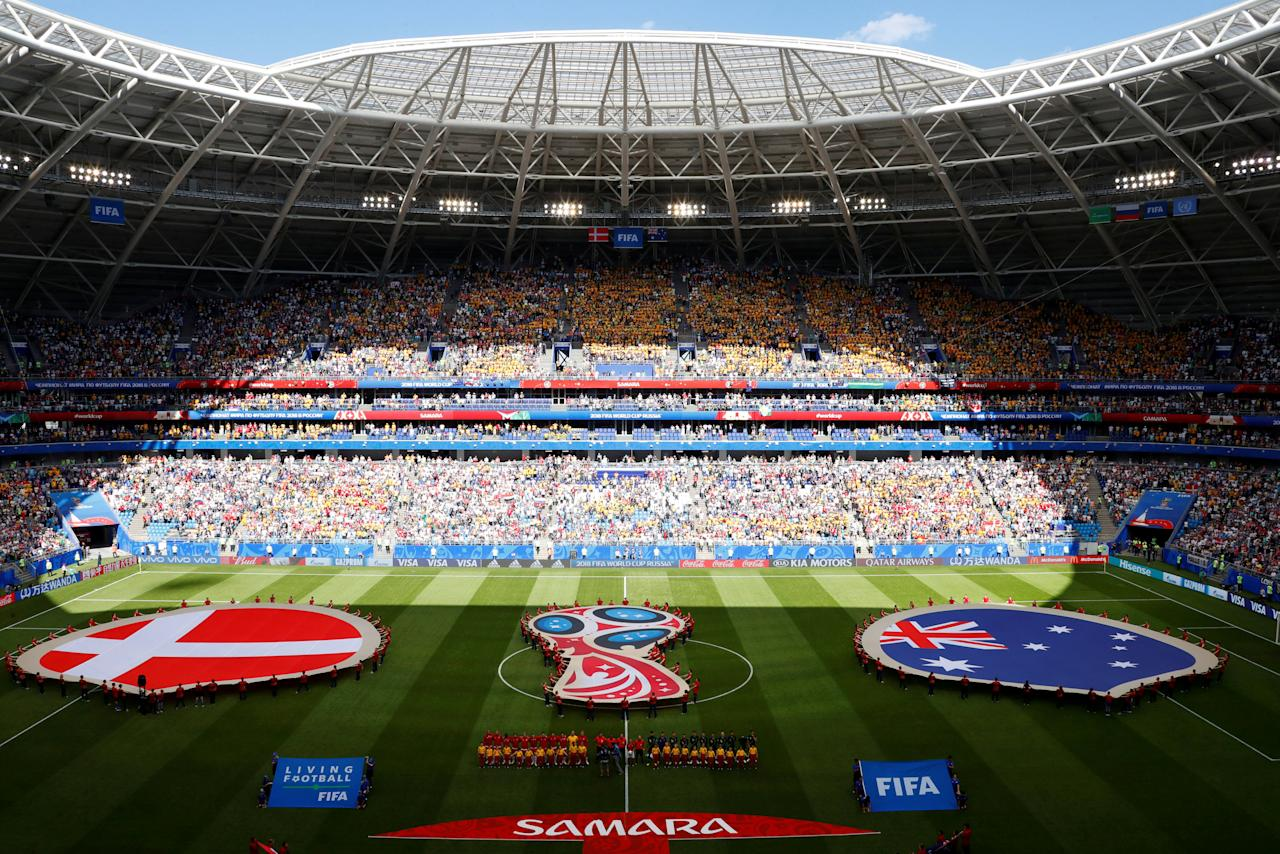 Soccer Football - World Cup - Group C - Denmark vs Australia - Samara Arena, Samara, Russia - June 21, 2018   General view of Denmark and Australia players during the national anthems before the match   REUTERS/David Gray     TPX IMAGES OF THE DAY