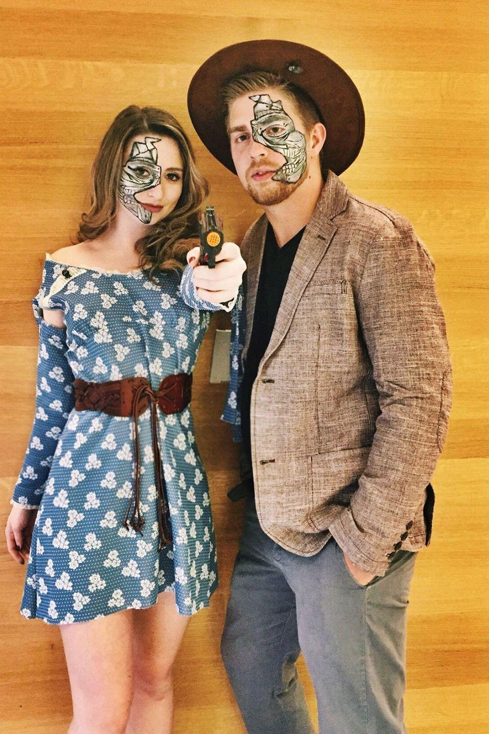 <p>If HBO's <em>Westworld</em> is your the definitive water color show in your office, you can pair your favorite Old West-looking wear with a little robot makeup — just don't share any spoilers!</p>