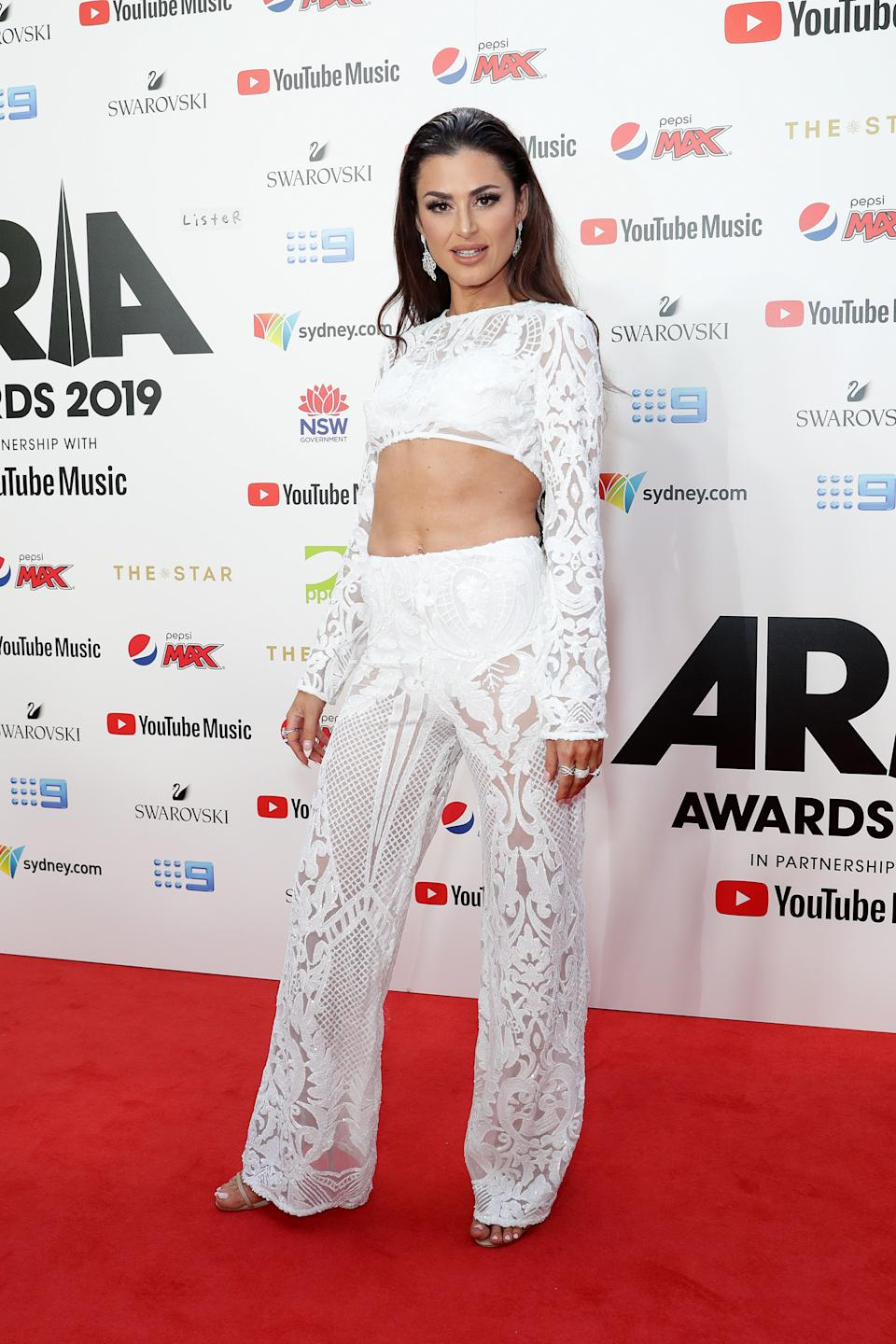 Helena Ellis wore a two-piece, lace ensemble to the ARIA Awards 2019. Photo: Getty Images